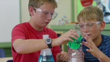 Two boys in school classroom working on science experiment video