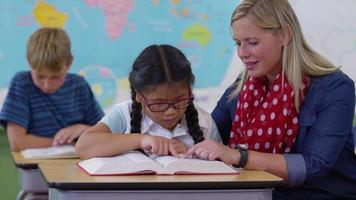 Teacher and student looking up word in dictionary together video