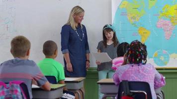 aluno na frente da aula lendo relatório video