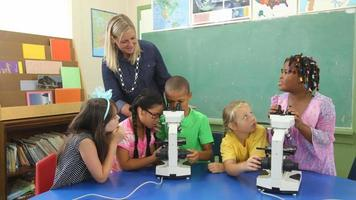 Teacher and students look through microscopes in school classroom video