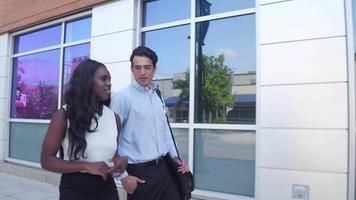 Businessman and businesswoman walking together video