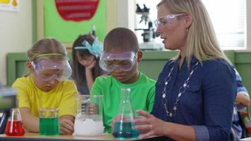 Teacher and students make science experiment in school classroom video