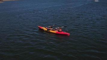 vista aérea de mãe e filho remando canoa no lago video