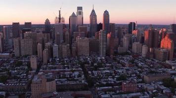 Aerial view of Philadelphia, Pennsylvania at sunset video