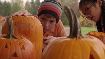 kleiner Junge, der Kürbis für Halloween schnitzt video