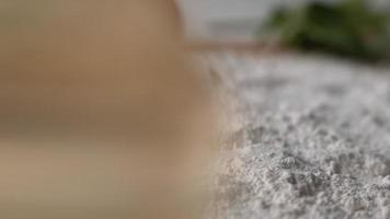 Pescado crudo cayendo en harina en cámara super lenta, filmada en phantom flex 4k video