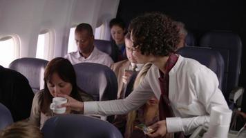 assistente di volo che serve bevande e snack ai passeggeri di aerei di linea video