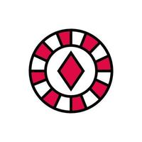 casino chip with diamond isolated icon vector