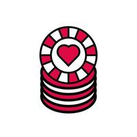 casino pile chips with heart isolated icon vector