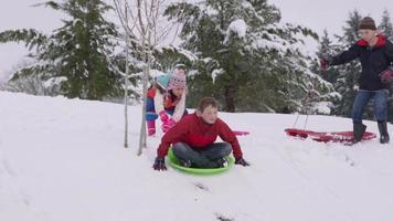crianças descendo uma colina coberta de neve no inverno video