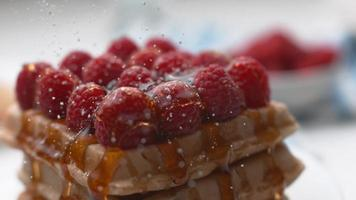 Powdered sugar sprinkled onto waffles with berries in super slow motion, shot on Phantom Flex 4K video