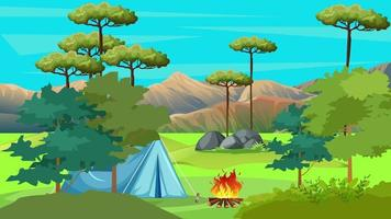 Resting In Tent Near Fire In The Nature video