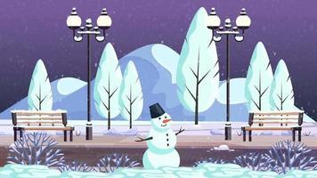 der einsame Schneemann im Park um Mitternacht video