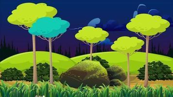 noche ventosa y árboles altos en la llanura video