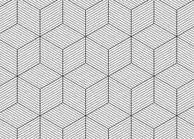 Hexagonal Line Cube Pattern vector