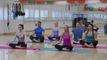 Group of men and women sitting on floor doing yoga at studio video