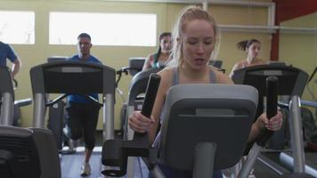 Woman working out at gym video