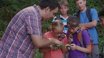 crianças no acampamento de verão olhando para a folha com líder video