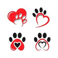 love paw print with a heart symbol, cat or dog paw print veterinary clinic or animal care sign vector