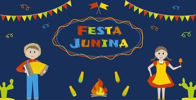 Festa junina june brazilian festival greeting card Perfect for posters or banners vector