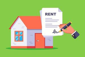 sign a document for renting a residential building flat vector illustration