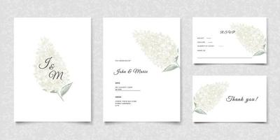Wedding invitation cards with white flowers vector