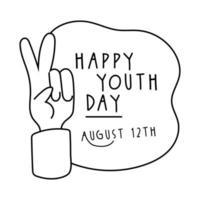 Feliz día de la juventud letras con estilo de línea de símbolo de paz y amor de mano vector