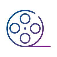 icono de estilo degradado de película de video de carrete vector