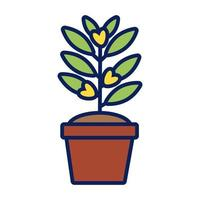 growth plant in ceramic pot line and fill style icon vector