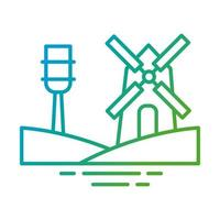 windmill building gradient style icon vector