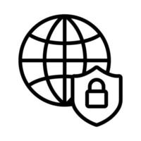 shield secure with sphere browser and padlock line style vector