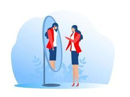 Imposter syndrome happy or sad expressions. Bipolar disorder fake faces and emotions. Psychology false behavior or deceiver vector illustrator