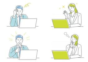 Businessman And Business Woman Working On Their Laptops Expressing Different Emotions Isolated On A White Background Set vector