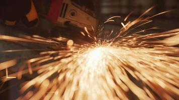 Construction worker grinding metal, closeup video