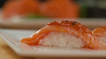 Closeup of sushi in slow motion video