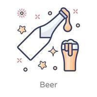 cerveza copa de champán vector