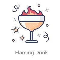 concepto de bebida llameante vector