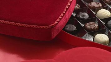 Valentine's Day heart shaped candy box full of chocolates video