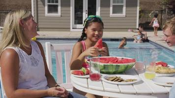 Family having lunch by backyard pool video