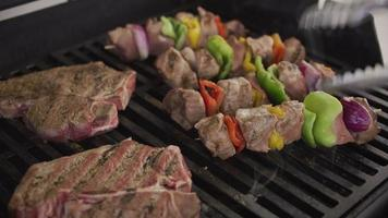 Closeup of steaks and skewers on backyard barbeque grill video