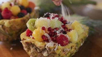préparer une salade de fruits tropicaux avec ananas, baies, melon et grenade video