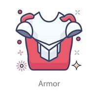 traje de armadura vistiendo vector