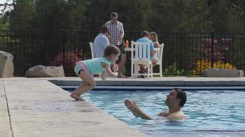 Young girl jumps to father in pool video