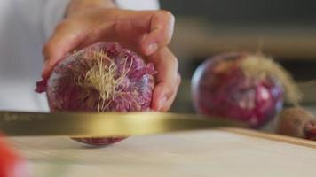 Close up shot of man cutting an onion video