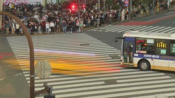 Tokyo, Japan circa-2018.  Night time lapse shot of cars and people crossing street at Shibuya Crossing in Tokyo, Japan. video