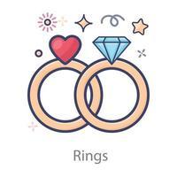 hermosos anillos de compromiso vector