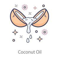 accesorio de aceite de coco vector