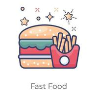 Fast Food with Potato Fries vector