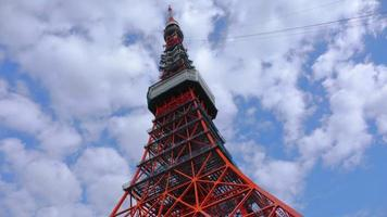 Tokyo, Japan circa-2018.  Time lapse shot of clouds moving over Tokyo Tower. video