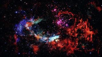 Loop Exploration Mystery Glowing Red Blue Nebula Cloud video